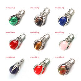 Wholesale Cheap Stone Necklaces - Jewelry Cheap Pendant Natural Stone 16mm Ball Bead Silver Plated Eagle Claw Reiki Pendulum Charms Amulet Fashion Jewelry 20X Mix Order