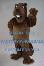 Wholesale Barney Beaver Mascot Costume Adult Size Cartoon Character Carnival Party Outfit Suit Fancy Dress SW852
