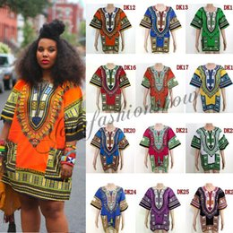 Wholesale African Dashiki Dresses For Women Men African Clothes hip hop T Shirt Caftan Vintage Fashion Tribal Mexican Top Ethnic Clothing L264