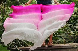 2016 Newest Design 100% Silk Fan Double Layer Fan Veils High Quality Women's Belly Dance Fan 1 Pair rose pink white