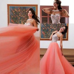 Wholesale Baby Pink Prom Dresses with Crystals Sexy Sweetheart Soft Tulle Beaded Party Evening Gowns with Gift Necklace