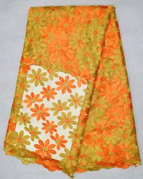 Beuatiful orange and yellow double color flower embroidery french mesh lace fabric for wedding clothing BN22-2,5 yards lot