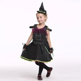 2017 New Halloween Hot Products Children Witch Edition with Hat Skirt Set Theme Play