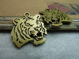 10pcs 24x27mm antique bronze tiger head pendant, tiger head charms, animal necklace setting alloy elephant Jewelry findings c6810