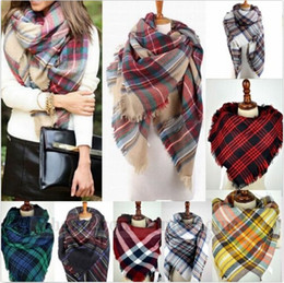 Wholesale Women s Plaid Scarf Cozy Oversized Tartan Tassel Scarf Fashion Wrap Grid Shawl Check Pashmina Cashmere Lattice Neck Stole Blanket B920