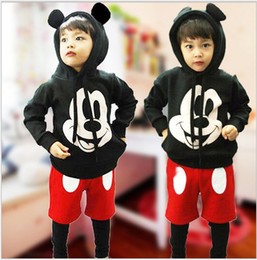 Wholesale 2016 New Children Cartoon Mickey Mouse Clothing Set Boys Girls Long Sleeve Hoodies Stitching Harem Pants Kids Outfits Baby Clothes Suit