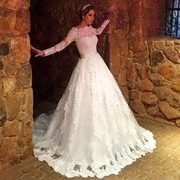 Novias musulmanes vestidos simples en Línea-La novia nupcial árabe de Tulle de la nueva de la llegada de las ventas calientes del nuevo cordón del cuello del cordón de la manga larga del vestido largo viste los vestidos de boda largos Robe De Mariage