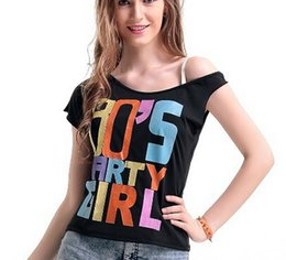 Wholesale Adult Pink Sexy I Love The s Retro T Shirt Fancy Dress Party Costume Ladies