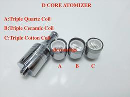 Wholesale NEW Triple Coil Wax Atomizer D CORE coils vaporizer skillet ceramic cotton atomizer dual quartz coil Rod Dry Herb Atomizer D Core Tank