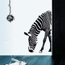 Wholesale Huge Wall Sticker Black Animal Zebra Bird Nest Removable Print Mural Art Decal