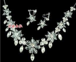 wonderful white diamond crystal flower bride wedding set necklace earings