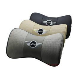 Wholesale Cam Accessories - nterior Accessories Seat Covers Genuine leather headrest Car Auto Seat cover Head Rest Cushion Headrest for mini neck pillow cooper s cam...