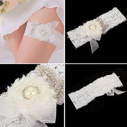 Hot Sale Lace Bridal Garters White Elegant 2015 Sexy with Rhinestones Wedding Leg Garters hand made flowers Bridal Accessories TYC005-4