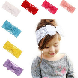 New Fashion Girls Lace Big Bow Hair Band Baby Head Wrap Band Accessories Baby Lace Elastic headbands