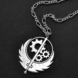"""Brotherhood stainless Steel Highly polished Pendant Necklace 2 inch w 30"""" Figaro necklace chain"""