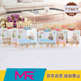 Wholesale 7 inch Children s photo frame EU Creative design Teady bear stick to a chalkboard ABS eco friendly material picture