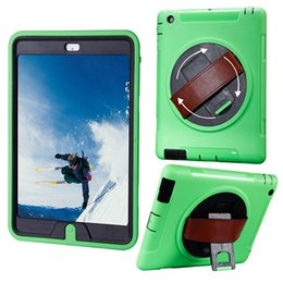 Wholesale Apple case iPad iPad iPad Handheld Shock and Drop Proof Rugged Kickstand Case with a Degree Swivel Kickstand and a Hand Grip Belt