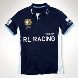 Wholesale 2011 RL Racing Team Polo T Shirts With Big Pony Embroidery on Chest Cotton ITALIA USA ESPANA DEUTSCHLAND Casual Mens Short Sleeve Shirts