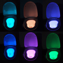 Wholesale 8 Color Human Motion Dection Sensor Automatic Seats LED Light Toilet Bowl Bathroom Lamp