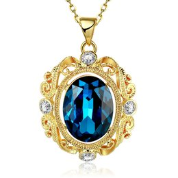 5pcs New Fashion European Drop Graceful Blue Zircon Pendant Chain Necklace Pretty Girl Jewelry Free Shipping