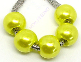 100PCS Lot Beautiful yellow PImitation Pearl Charms for Jewelry Making loose European Big Hole Acrylic Beads Fit European Bracelet Low Price