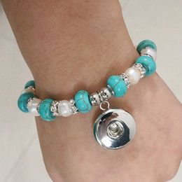 Wholesale Hot sale SG0042 Beauty turquoise Natural pearl beads ginger snap bracelet CM fit MM ginger snap buttons