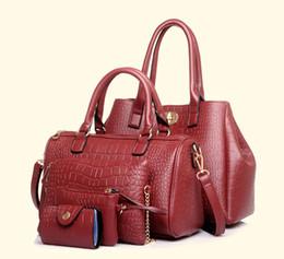 Wholesale Burnish Oiled Leather Crocodile Grain Tote Bags Ladies Shoulder Crossbody Composite Bags Sets Women Handbag Messenger Bag Purse Wallet
