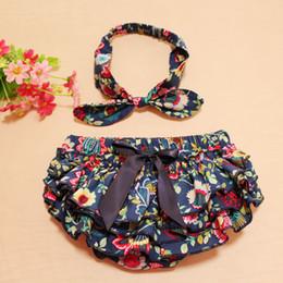 2016 Baby satin flower pp shorts +bowknot headband set Infant girl summer cloth floral bloomers shorts & headband toddler 0-24M