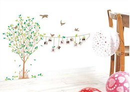Wholesale Young trees frame wall stickers The guest to the bedroom wall stick sofa Green wall stick Indoor wall stick