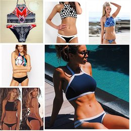 9 STYLES Fashion Sexy bikini!2016 New Design Push Up Women High Neck Bikini Geometry Bath Suit ,Slim Bottom Tankini Swimwear 9 colors