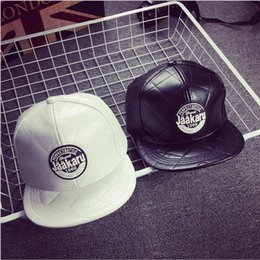 Wholesale 2016 New round standard letter grid cut lines leather baseball cap men and women fall and winter leisure cap flat along the hat