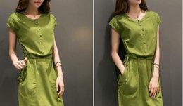 Compra On-line Korean women s dress-Cotton menina vestido de verão de verão 2015 nova onda de mulheres coreanas na saia longa magro 33