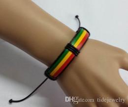 Reggae rasta reggae hand-rope leather doodle bracelet,Fashion colour PU hand-woven thick leather bracelet The national flag color bracelet