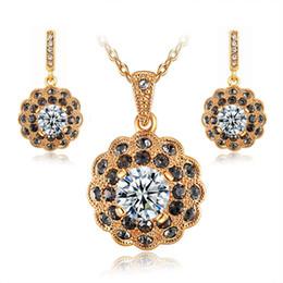 jewelry sets african austrian crystal bridal wedding wholesale 18k gold fashion necklace earring women nigeria Cz diamond new set jewelrys