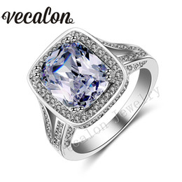 Vecalon Cushion cut 10ct Simulated diamond ring 192pcs Cz Stone 14KT White Gold Filled Engagement Wedding band Ring for Women Sz 5-11