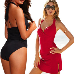 Wholesale PrettyBaby Vintage Monokini Solid One Piece Swimsuit Deep V Neck Swimwear Sexy Bathing Suit Beauty Beachwear and skirt
