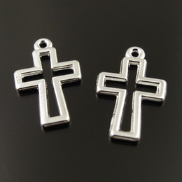 10PCS Lot Antique Silver Cross Alloy Pendant Charm Jewelry Finding 14*11*1mm AU36651 jewelry making