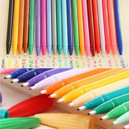 Free Shipping 24 pcs lot 24 Colors Watercolor Pen Brush Marker Highlighter Markers Pen Stationery Material Escolar