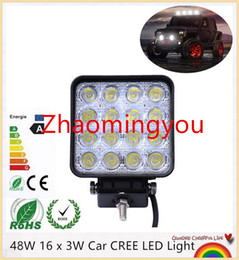 10 Pieces 48W 16 x 3W Car CREE LED Light Bar as Square Work light Flood Light Spot Light for Boating Hunting Fishing