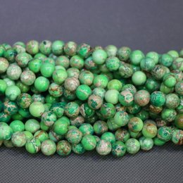 Jasper Natural Green Stone Beads Gemstone Emperor Imperial Jasper Beads Round Smooth Beaded Wholesale Price Women Necklace Making Jewelry