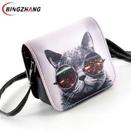 Wholesale 2016 Bolsa Bolsos Carteras Mujer Marca Women PU Leather Cat Wearing Big Glasses Print Shoulder Handbags Bag