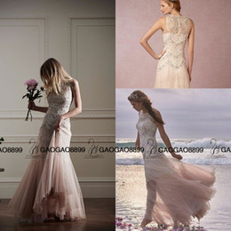 Bhldn 2019 Elegant Champagne blush Bohemian Wedding Dresses Luxury Crystal Beaded Detail Crew Tiered Skirt Beach boho Wedding Bridal Gowns