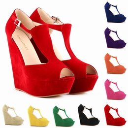LOSLANDIFEN Fashion Summer Women Shoes Peep Toe Flock Platform Wedges Pumps High Heel Party Wedding Shoes Free Shipping 391-1VE