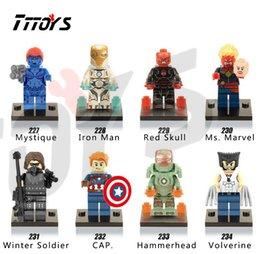 Wholesale X0109 Building Blocks Super Heroes Minifigures Raven Mystique Iron Man Mark MK37 Red Skull Winter Soldier Shazam Mini Figures