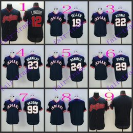 Wholesale cleveland indians francisco lindor bob feller Baseball Jersey Cheap Rugby Jerseys Authentic Stitched Size