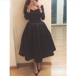 2016 Elegant A Line Black Evening Dresses V Neck Long Sleeve Tea Length Party Prom Gowns