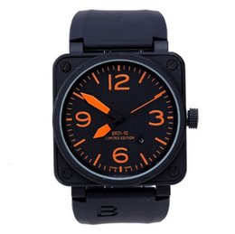 Wholesale Men s Automatic Self Wind Classic Square Black Rubber or Brown Leather Strap Bell br01 Stainless Steel Watch