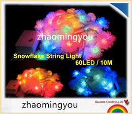 10M 60 LED Furry Ball RGB Edelweiss Snowflake led String Light,220V colorful Christmas outdoor led string light