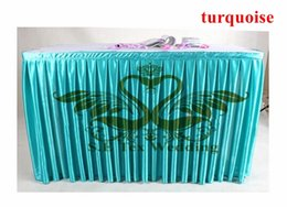 Cheap Price Turquoise Color Satin Table Skirt Wedding Table Cloth Skirting Free Shipping