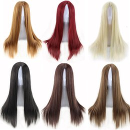 Wholesale Cheaps women wigs long straight carve hairstyle wig blonde heat resistant synthetic wigs black natural cheap hair wig new arrival